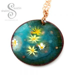 Enamelled Copper Circle Pendant | LILY POND 01