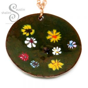 Enamelled Round Copper Pendant with Colourful Flowers