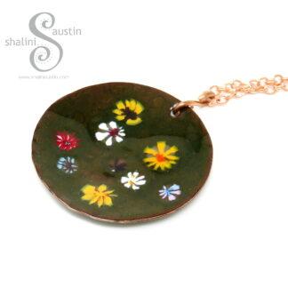 Enamelled Round Copper Pendant | WILDFLOWERS 02