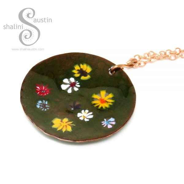 Enamelled Round Copper Pendant | WILDFLOWERS 02
