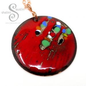 Vibrant Round Enamelled Copper Pendant 01