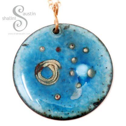 Round Copper Pendant Enamelled Blue | GALAXY 01