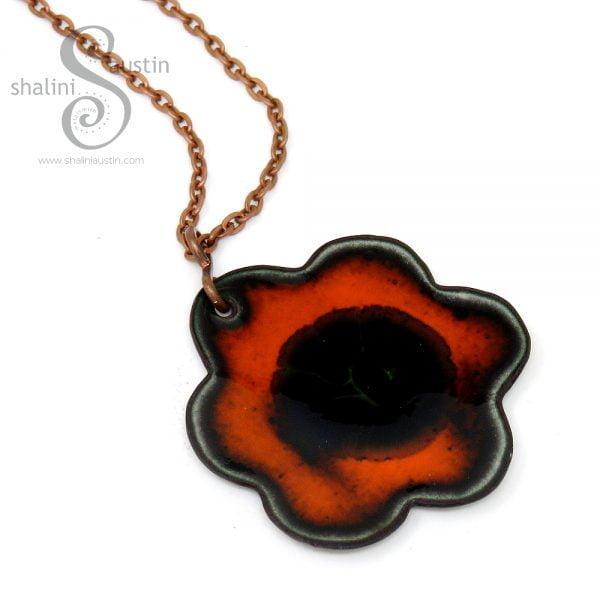 Enamelled Copper Flower Pendant 04 | ORANGE & BLACK