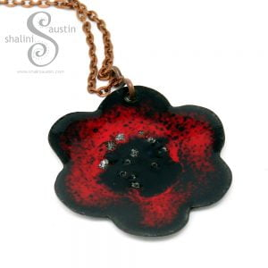 Enamelled Copper Flower Pendant 05 | RED & Black