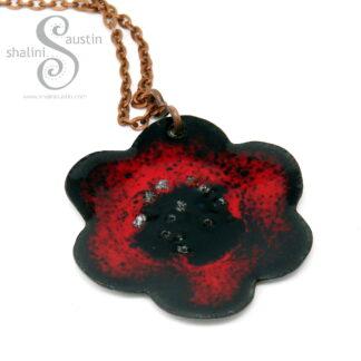 Enamelled Copper Flower Pendant 05 | RED & Black