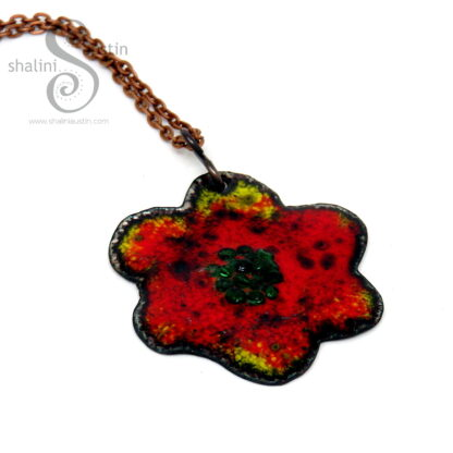 Copper Flower Pendant 06   RED - YELLOW - GREEN