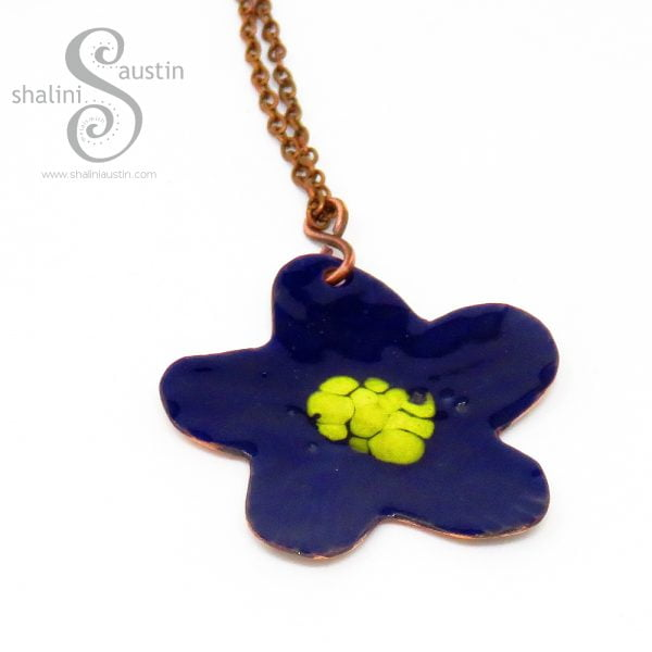Enamelled Copper Flower Pendant 07 | BLUE & YELLOW