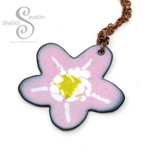 Enamelled Copper Flower Pendant 08 | PINK & WHITE