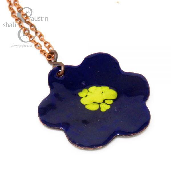 Enamelled Copper Flower Pendant 09 | BLUE & YELLOW