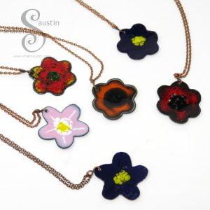 Enamelled Copper Flower Pendant