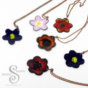 Colourful Enamelled Copper Flower Pendants in various colours.