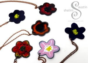 Colourful Enamelled Copper Flower Pendants in various colours.
