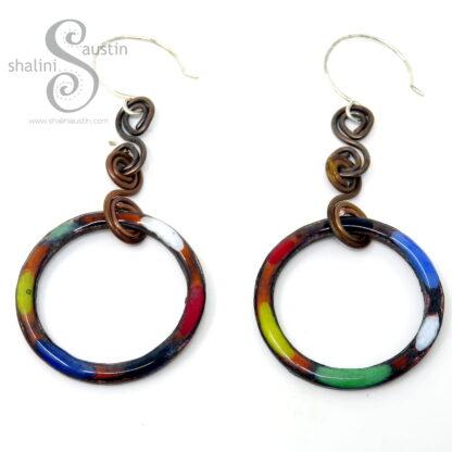 Colourful Copper Circle Earrings | Enamelled