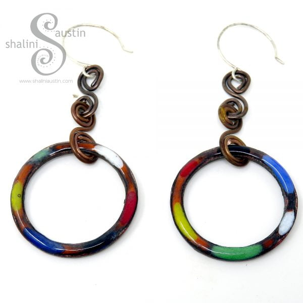 Colourful Copper Circle Earrings | Enamelled