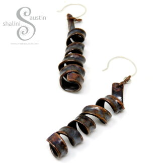 Textured Copper Pipe Twirl Earrings