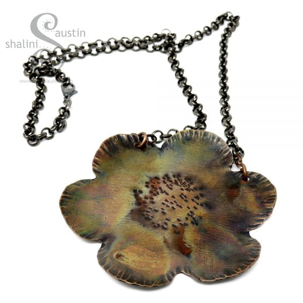 Large Copper Flower Pendant 01 | Flame Painted
