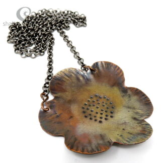 Textured Copper Flower Pendant 02 | Flame Painted