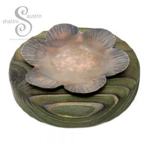 Copper Flower Trinket Tray on Palletwood Base