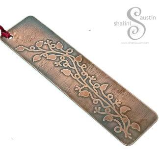 Floral Design Etched Copper Bookmark 01