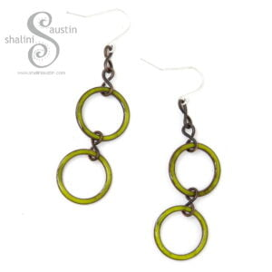 Yellow Enamelled Copper Circle Earrings