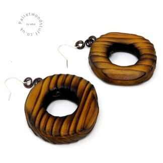 Rustic Wooden Earrings | Honey | Made from Palletwood