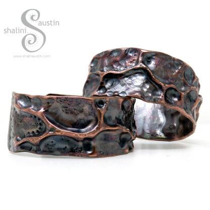 Wide Copper Cuff Bracelet FANTASY   Made to Order