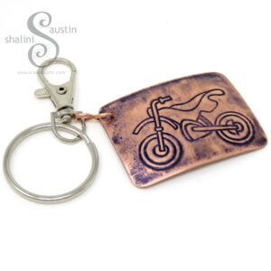 Embossed Copper Keyring MOTORBIKE (02)