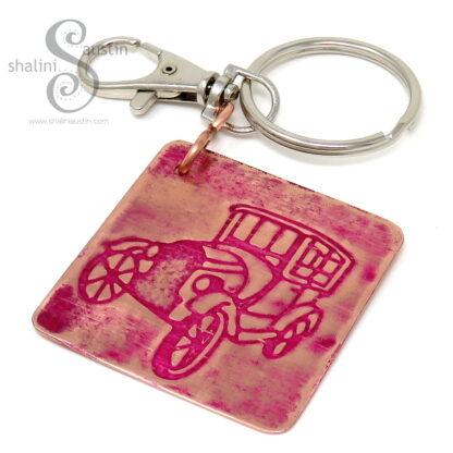 Embossed Copper Keyring VINTAGE CAR (03)
