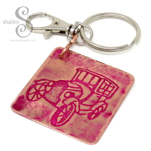 Embossed Copper Keyring VINTAGE CAR (03)