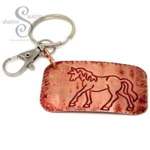 Handcrafted Copper Keyring HORSE (04)