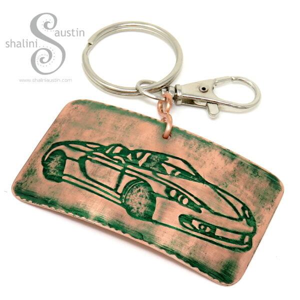 Handmade Copper Keyring CLASSIC CAR (05) | Green