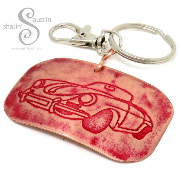 Handmade Copper Keyring CLASSIC CAR (04) | Red