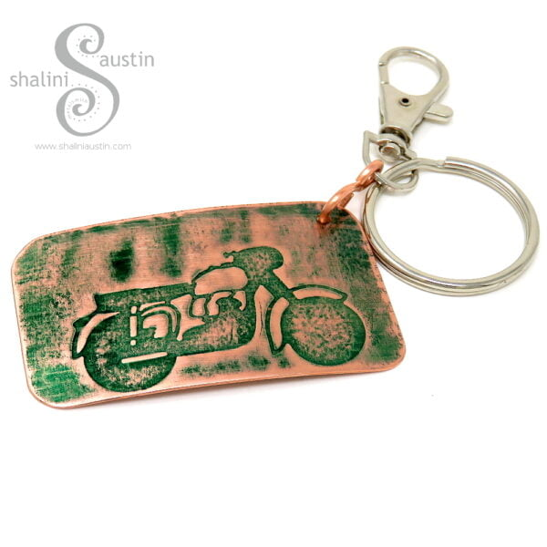 Handmade Copper Keyring MOTORBIKE (05)   Green