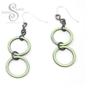 Pastel Spring Green Enamelled Copper Earrings