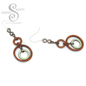 Orange & Green Enamelled Copper Earrings