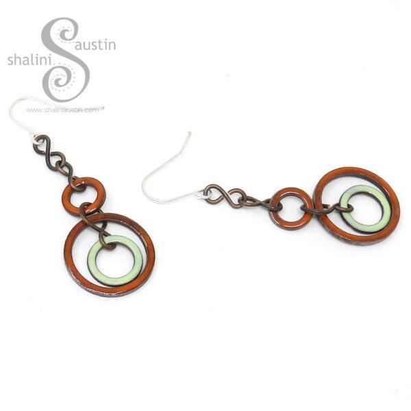 Orange & Green Enamelled Copper Earrings