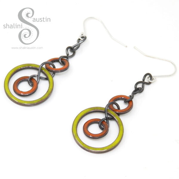 Orange & Yellow Enamelled Copper Earrings