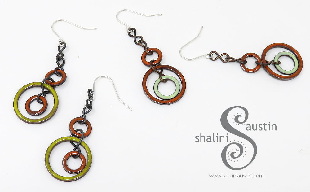 Colourful Orange & Yellow Enamelled Copper Earrings