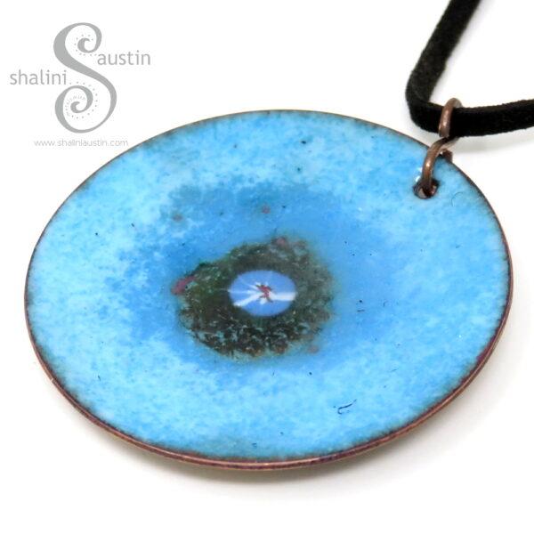 Round Blue Copper Pendant   OCEAN 02