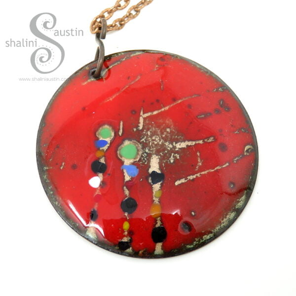 Vibrant Enamelled Copper Pendant 02