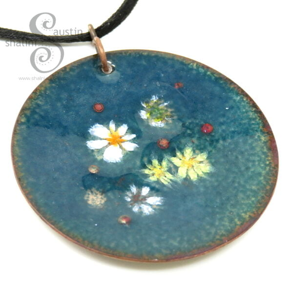 Enamelled Copper Circle Pendant | LILY POND 02