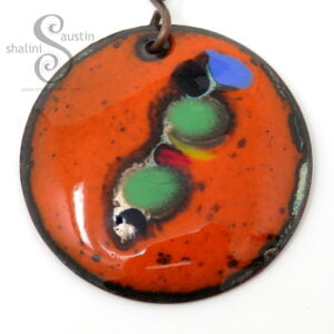 Vibrant Enamelled Copper Pendant 03 | Orange