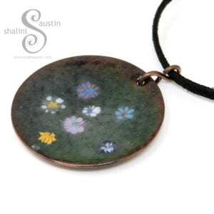 Enamelled Round Copper Pendant | WILDFLOWERS 03