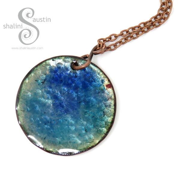 Blue Enamelled Copper Pendant | OCEAN 01