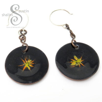 Black and Orange Copper Disc Earrings | Double Sided