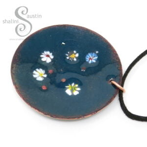 Copper Circle Enamelled Pendant | LILY POND 03