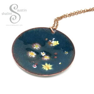 LILY POND 04 | Enamelled Copper Circle Pendant