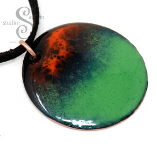 Orange and Green Enamelled Pendant | VOLCANO