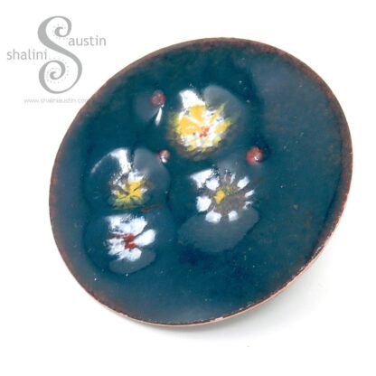 LILY POND 07   Enamelled Copper Circle Brooch