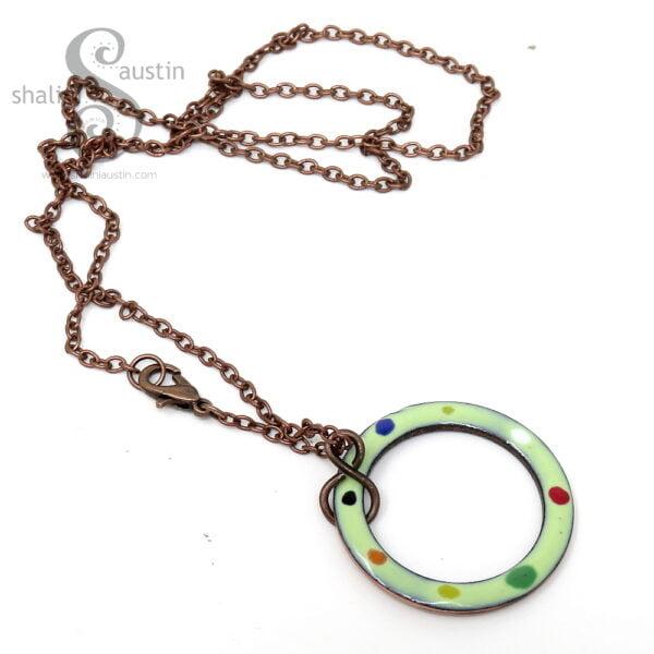 Enamelled Copper Pendant | Spring Green Tutti-Frutti